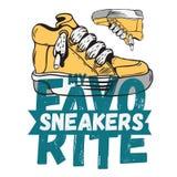 Sneaker Footwear Poster Label Sign Design Artistic Cartoon Hand drawn  Royalty Free Stock Image