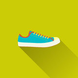 Sneaker icon. Shoes for training, sneaker, old school style - icon sport. Concept of active lifestyle, recreation, walking. Flat design with long shadow. Vector Stock Photos