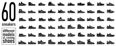 60 sneaker running shoes icons set. Simple style. 60 Sneaker running shoes icon set. Casual simple style logo. Vector illustration icons set of fitness and sport stock illustration