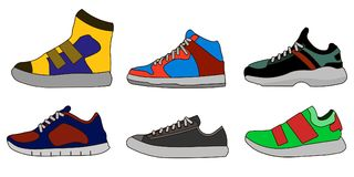 Sneaker Shoe Color Flat Icon Pictogram Symbol Illustration Set Collection. Vector Stock Photography