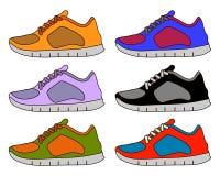 Sneaker Shoe Minimal Color Flat Line Stroke Icon Pictogram Symbol Illustration Set Collection Stock Image