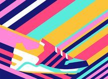 Sneaker shoe on polygonal background. Bright vector illustration. Shoes background Stock Photos