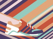 Sneaker shoe on polygonal background. Vector illustration. Pastel colors background Stock Photos