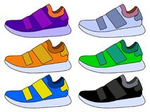 Sneaker Sport Shoe Color Flat Icon Symbol Set Collection. Flat design  Illustration. EPS Royalty Free Stock Photos