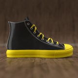Sneaker on wood background Royalty Free Stock Photos