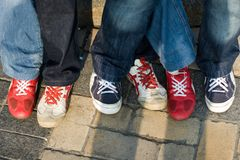 Sneakers. Three pairs of coolly laced sneakers Royalty Free Stock Photography