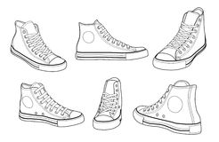 Sneakers. At various angles outline  illustration Royalty Free Stock Images