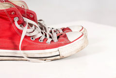 Sneakers. Casual red shoes on white background Royalty Free Stock Image