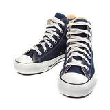 Sneakers. Pair of new Blue sneakers isolated on white background Stock Photo