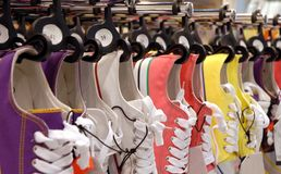 Sneakers. A many of colorful sneakers, gym shoes Royalty Free Stock Photos