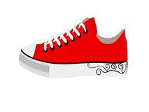 Sneakers. Red sneakers on transparent background Royalty Free Stock Photography