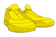 Sneakers. Illustration of yellow sneakers on a white background Royalty Free Illustration