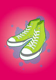 Sneakers. A detail lime green canvas sneakers, in simple background royalty free illustration