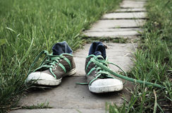 Sneakers. Sport shoes, sneakers outdoor on a green grass Royalty Free Stock Photo