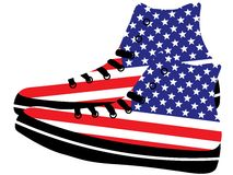 Sneakers with American flag Royalty Free Stock Images