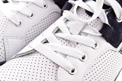 Sneakers background. White and navy blue sneakers background Royalty Free Stock Photo