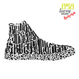 Sneakers be wild and free like a rock star lettering poster Royalty Free Stock Photography