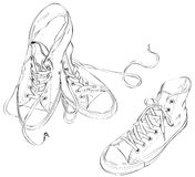 Sneakers in Black and White Royalty Free Stock Image