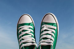 Sneakers and blue sky Stock Photo