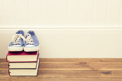 Sneakers and books Stock Photo