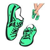 Sneakers butów nakreślenia rysunku ilustracja ilustracji