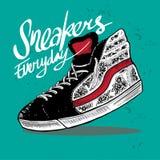 Sneakers buta r?ka rysuj?ca ilustracja royalty ilustracja