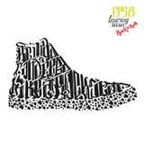 Sneakers byli dzicy i bezpłatni jak gwiazdy rocka literowania plakat Fotografia Royalty Free