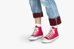 Sneakers Canvas Shoes Human Feet Legs Standing Concept Stock Photography