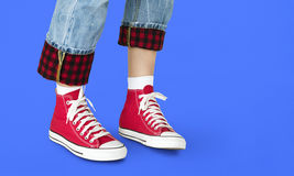 Sneakers Canvas Shoes Human Feet Legs Standing Concept Royalty Free Stock Photo