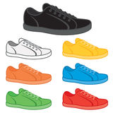 Sneakers. Casual sneakers in a variety of basic colours Stock Images
