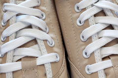 Sneakers close-up. New sneaker. Focus on shoelace. Close-up Stock Photo