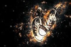 Sneakers on fire  in black background. Stock Image