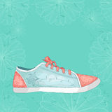 Sneakers with floral pattern. Painted by hand. Royalty Free Stock Photography