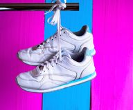 Sneakers on a glamorous pink background stock photography