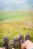 The sneakers in the grass Royalty Free Stock Images