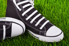 Sneakers in the grass field Royalty Free Stock Photography