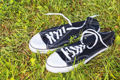 Sneakers on grass Stock Images