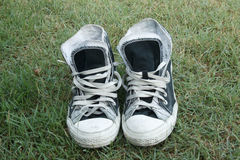 Sneakers on the grass Royalty Free Stock Image