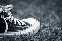 Sneakers in the grass. Retro sneakers on the grass Royalty Free Stock Photos