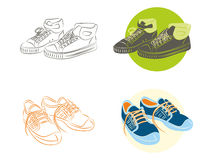 Sneakers. Green and blue sneakers and sketch Royalty Free Stock Photography