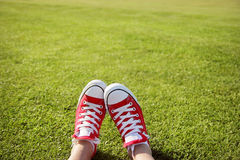 Sneakers in green grass Stock Photos