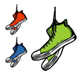 Sneakers. Hand-drawn set of three sneakers,  illustration Royalty Free Stock Images