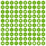 100 sneakers icons hexagon green. 100 sneakers icons set in green hexagon isolated vector illustration Stock Photos