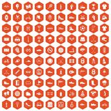 100 sneakers icons hexagon orange. 100 sneakers icons set in orange hexagon isolated vector illustration Royalty Free Stock Image