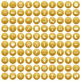 100 sneakers icons set gold. 100 sneakers icons set in gold circle isolated on white vectr illustration Royalty Free Stock Photo
