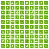 100 sneakers icons set grunge green. 100 sneakers icons set in grunge style green color isolated on white background vector illustration Royalty Free Illustration