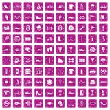 100 sneakers icons set grunge pink. 100 sneakers icons set in grunge style pink color isolated on white background vector illustration royalty free illustration