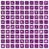 100 sneakers icons set grunge purple. 100 sneakers icons set in grunge style purple color isolated on white background vector illustration Stock Image