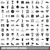 100 sneakers icons set, simple style. 100 sneakers icons set in simple style for any design vector illustration Royalty Free Stock Photos