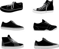 Sneakers illustrations. Various shoes and sneakers vector illustrations stock illustration